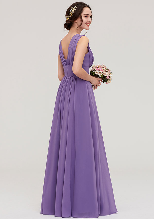 A-Line/Princess Scalloped Neck Sleeveless Long/Floor-Length Chiffon Bridesmaid Dresses With Pleated