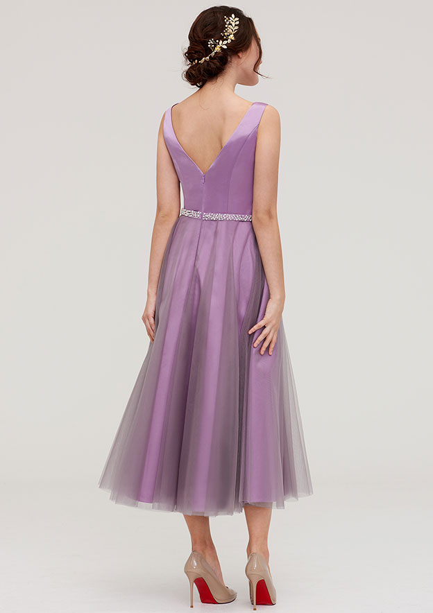 A-Line/Princess V Neck Sleeveless Tea-Length Tulle Bridesmaid Dress With Waistband Beading Pleated