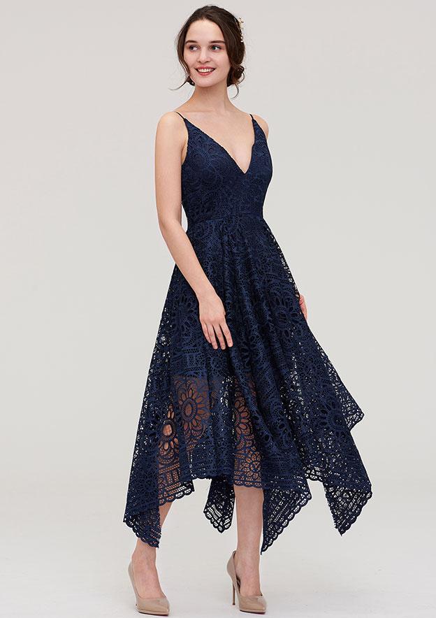 A-Line/Princess V Neck Sleeveless Tea-Length Lace Bridesmaid Dress