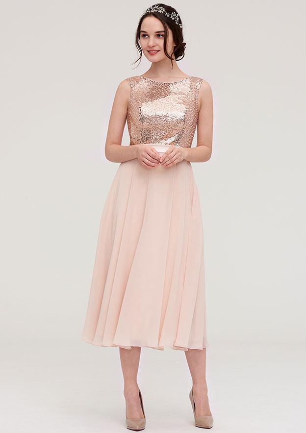 A-Line/Princess Bateau Sleeveless Tea-Length Chiffon Bridesmaid Dress With Sashes Sequins