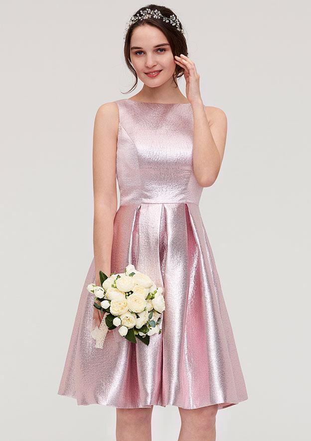 A-Line/Princess Bateau Sleeveless Knee-Length Taffeta Bridesmaid Dress With Ruffles