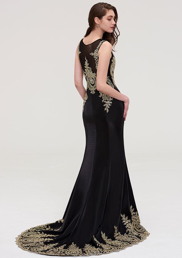 Sheath/Column Bateau Sleeveless Court Train Elastic Satin Evening Dress With Crystal Beading