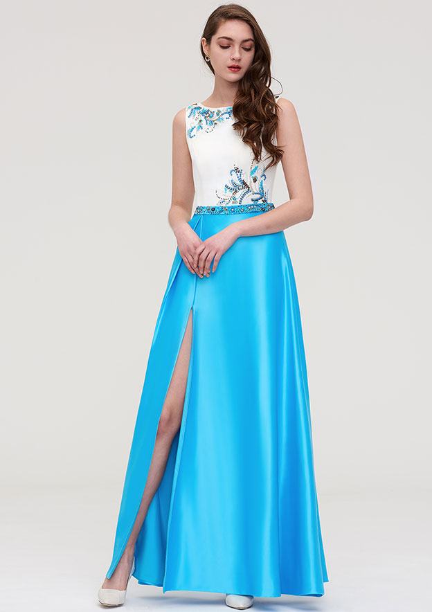 A-line/Princess Bateau Sleeveless Long/Floor-Length Satin Evening Dress With Beading Waistband