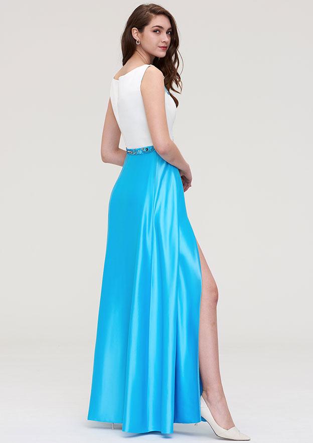 A-line/Princess Bateau Sleeveless Long/Floor-Length Satin Evening Dress With Beading Waistband