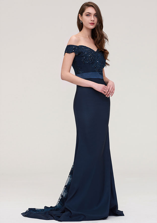 Trumpet/Mermaid Off-The-Shoulder Sleeveless Sweep Train Elastic Satin Prom Dress With Bandage Appliqued