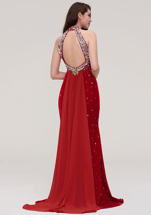 Sheath/Column Halter Sleeveless Velvet Evening Dress With Side Draping Beading