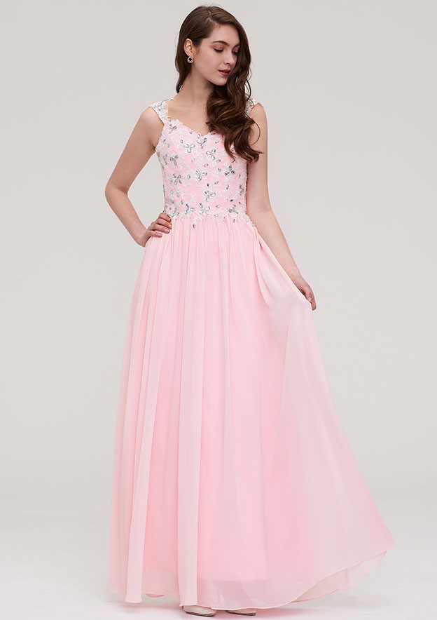 A-Line/Princess Sweetheart Sleeveless Long/Floor-Length Chiffon Prom Dress With Beading Appliqued