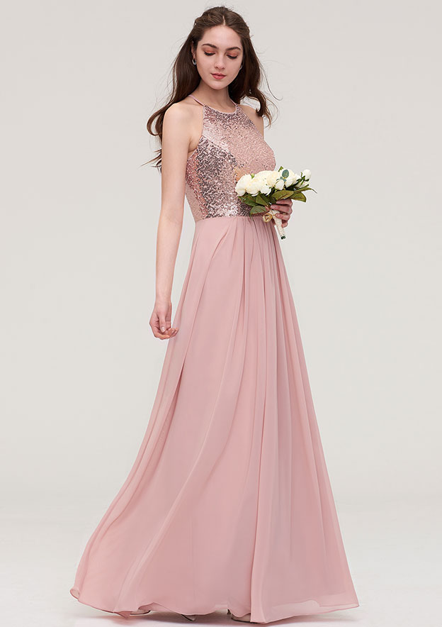A-line/Princess Bateau Sleeveless Long/Floor-Length Chiffon Bridesmaid Dress With Sequins