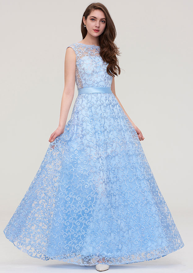 A-line/Princess Bateau Sleeveless Long/Floor-Length Lace Prom Dress With Waistband