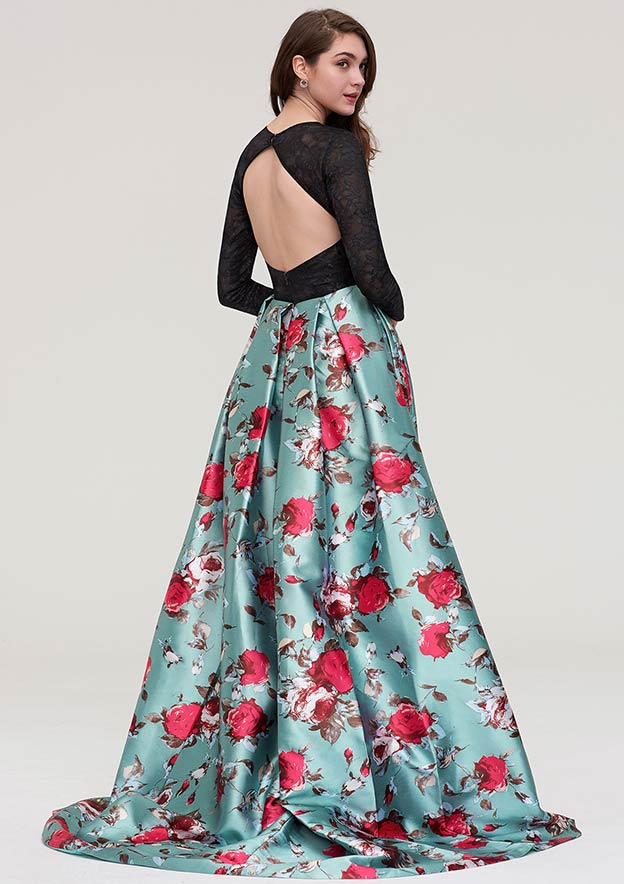 A-line/Princess Bateau Full/Long Sleeve Long/Floor-Length Satin Evening Dress With Lace
