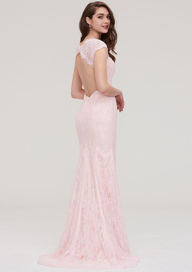 Sheath/Column Sweetheart Sleeveless Sweep Train Lace Prom Dress