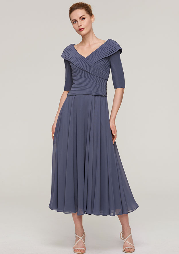 A-Line/Princess V Neck Half Sleeve Tea-Length Chiffon Mother Of The Bride Dress With Pleated