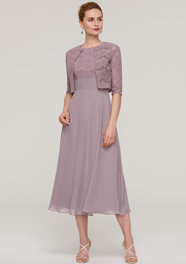 66181aecda3fe2 A-line Princess Scoop Neck Sleeveless Tea-Length Chiffon Mother of the Bride  Dress With Lace Jacket