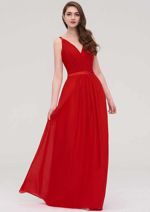 A-Line/Princess V Neck Sleeveless Long/Floor-Length Chiffon Dress With Sashes Pleated