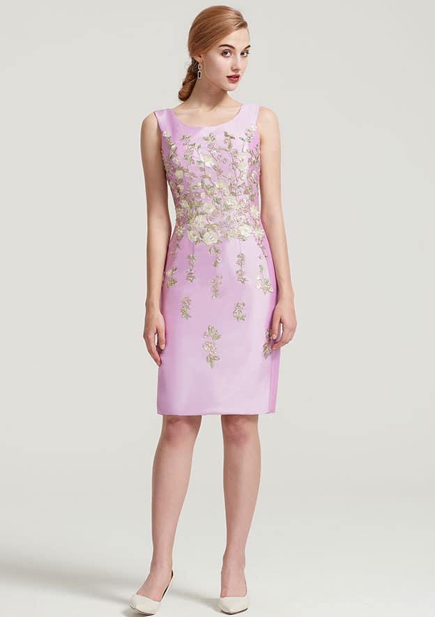 Sheath/Column Bateau Sleeveless Knee-Length Taffeta Mother Of The Bride Dress With Jacket Appliqued