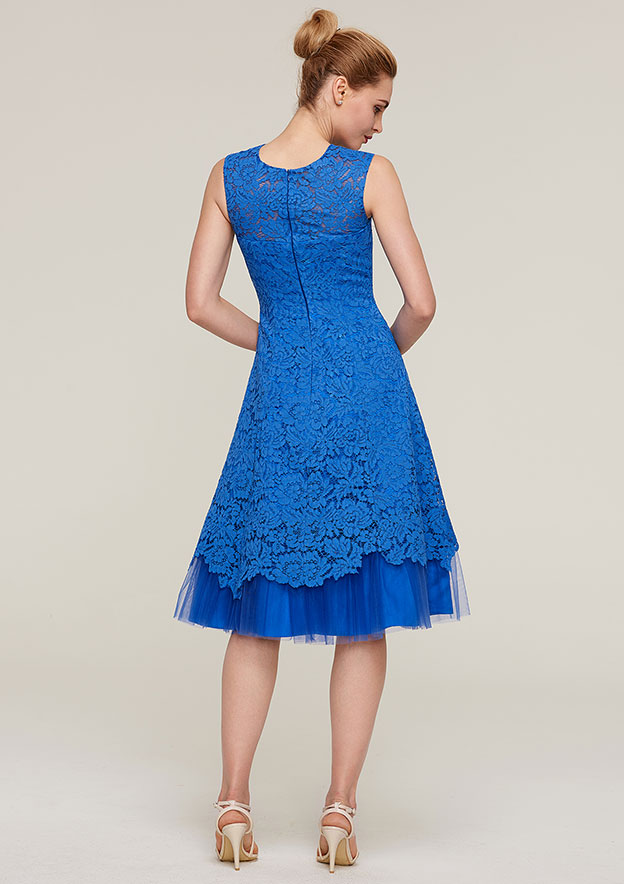 A-Line/Princess Scoop Neck Sleeveless Knee-Length Lace Mother Of The Bride Dress With Jacket