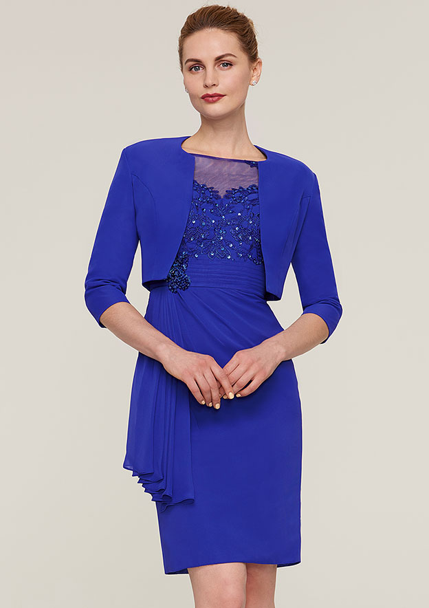 Sheath/Column Bateau Half Sleeve Knee-Length Chiffon Mother Of The Bride Dress With Jacket Appliqued Beading Pleated