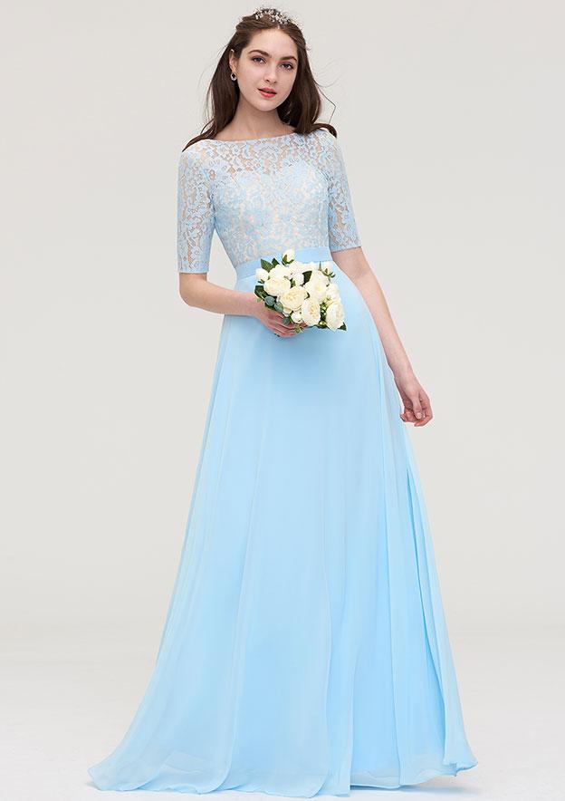 A-line/Princess Bateau Half Sleeve Long/Floor-Length Chiffon Bridesmaid Dress With Lace
