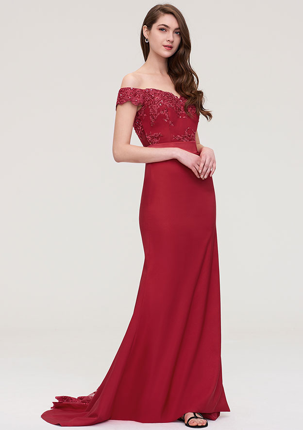 Trumpet/Mermaid Off-the-Shoulder Sleeveless Sweep Train Elastic Satin Prom Dress With Bandage Beading Appliqued