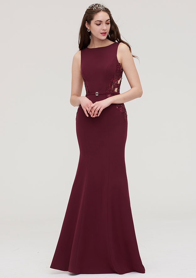 Sheath/Column Bateau Sleeveless Long/Floor-Length Elastic Satin Bridesmaid Dress With Waistband Lace Sequins