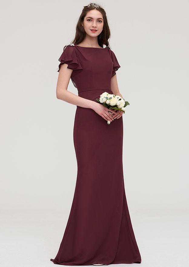 Sheath/Column Bateau Short Sleeve Long/Floor-Length Chiffon Bridesmaid Dress With Crystal Detailing Sashes