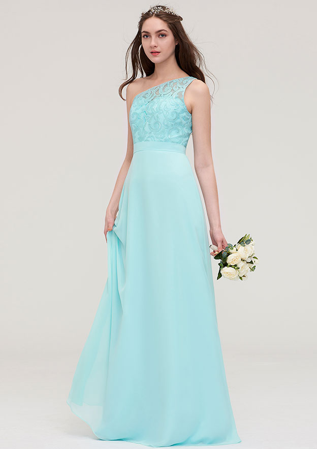 A-line/Princess One-Shoulder Sleeveless Long/Floor-Length Chiffon Bridesmaid Dress With Lace