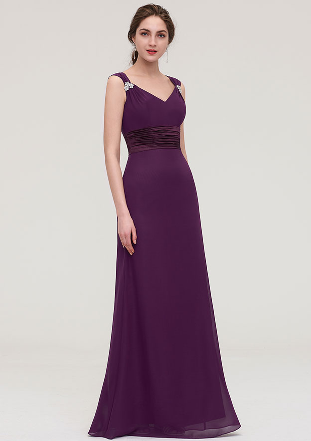 Sheath/Column V Neck Sleeveless Long/Floor-Length Chiffon Bridesmaid Dress With Sashes Beading Pleated