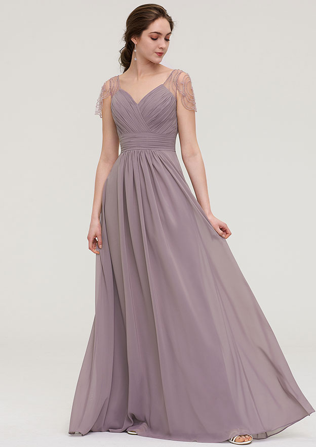 A-line/Princess Sweetheart Short Sleeve Long/Floor-Length Chiffon Bridesmaid Dress With Pleated Beading