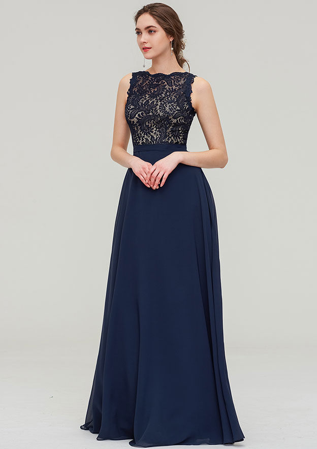 A-line/Princess Bateau Sleeveless Long/Floor-Length Chiffon Bridesmaid Dress With Sashes Lace