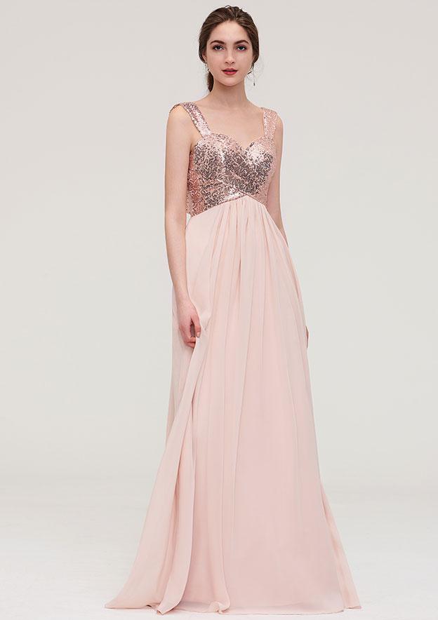 A-line/Princess Sweetheart Sleeveless Long/Floor-Length Chiffon Bridesmaid Dress With Pleated Sequins
