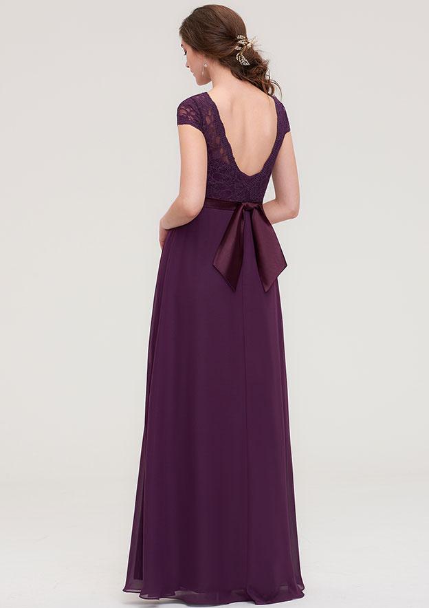 A-line/Princess Bateau Short Sleeve Long/Floor-Length Chiffon Bridesmaid Dress With Sashes Lace
