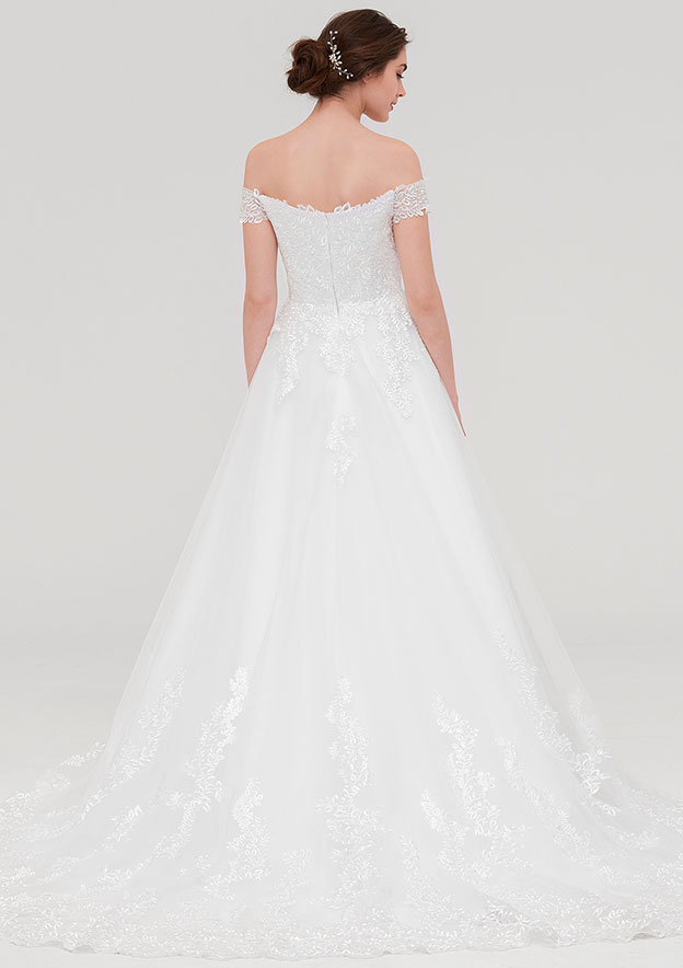 A-line/Princess Off-the-Shoulder Sleeveless Chapel Train Tulle Wedding Dress With Lace