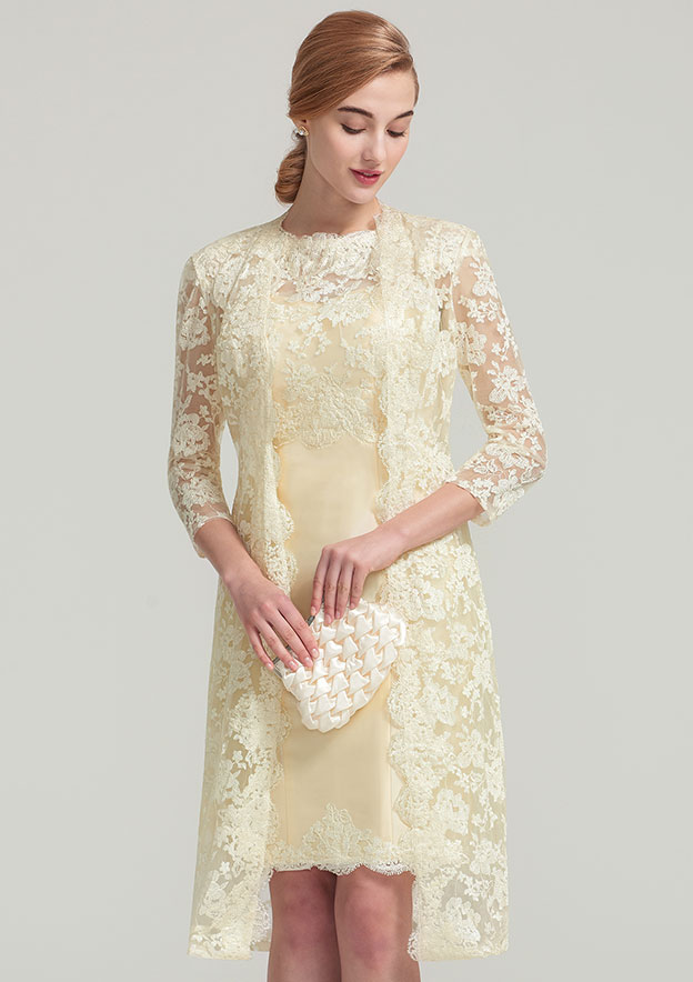 3/4 Sleeve Knee Length Lace Jacket With Appliqued