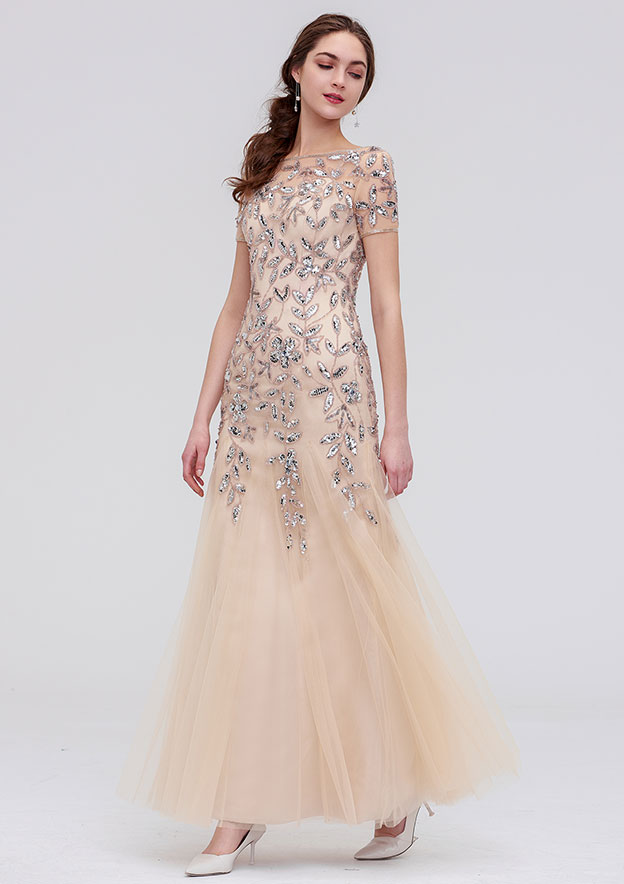 Sheath/Column Scoop Neck Short Sleeve Ankle-Length Tulle Evening Dress With Sequins Beading