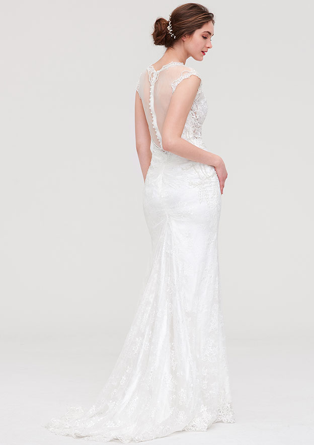 Trumpet/Mermaid V Neck Sleeveless Court Train Lace Wedding Dress With Beading Lace