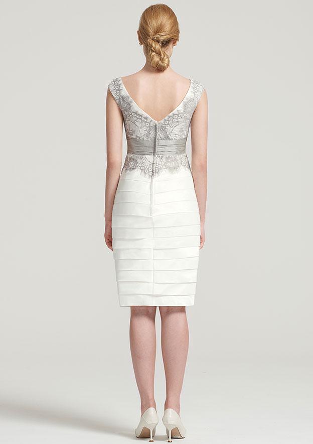 Sheath/Column V Neck Sleeveless Knee-Length Taffeta Mother of the Bride Dress With Jacket Appliqued Pleated