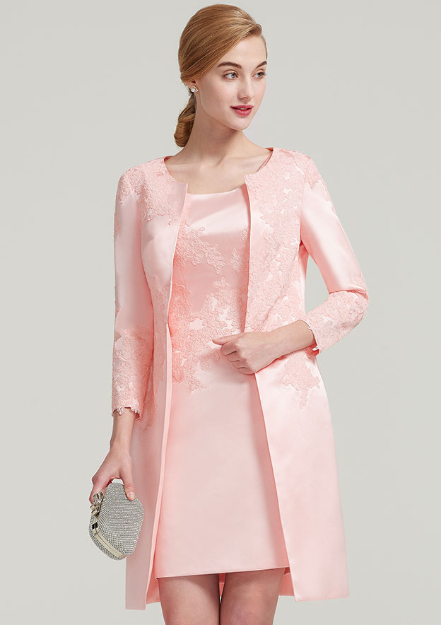 3/4 Sleeve Knee Length Satin Jacket With Appliqued