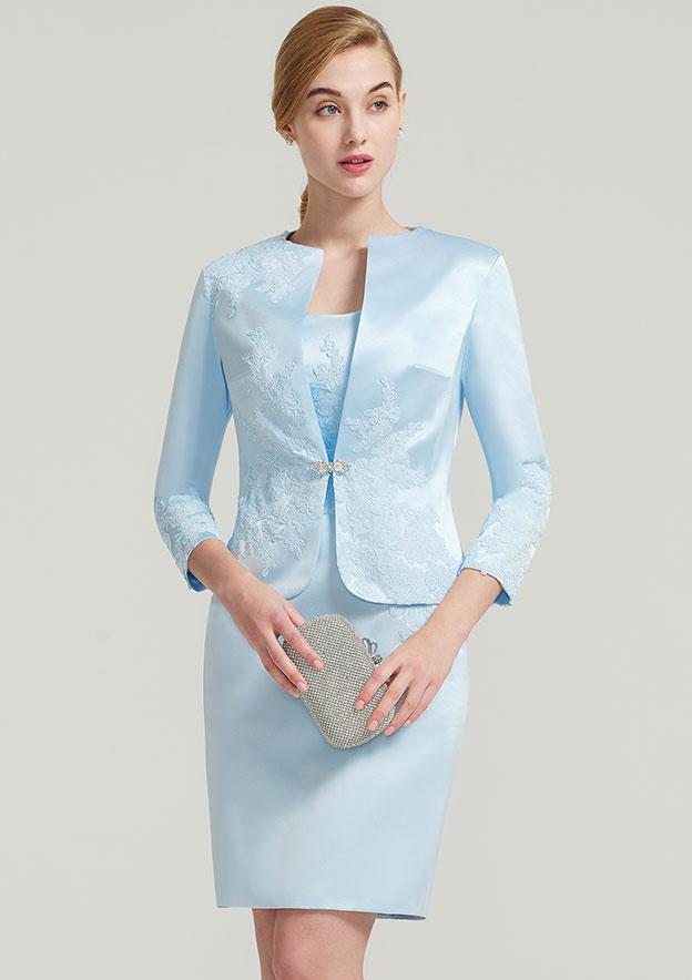 3/4 Sleeve Waist Length Satin Jacket With Appliqued Rhinestone