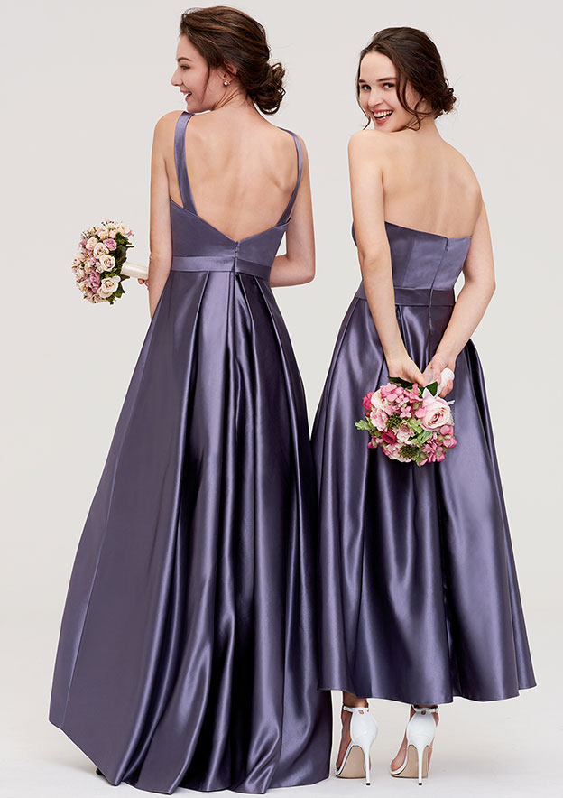 A-Line/Princess Bateau Sleeveless Ankle-Length Satin Bridesmaid Dress With Pleated