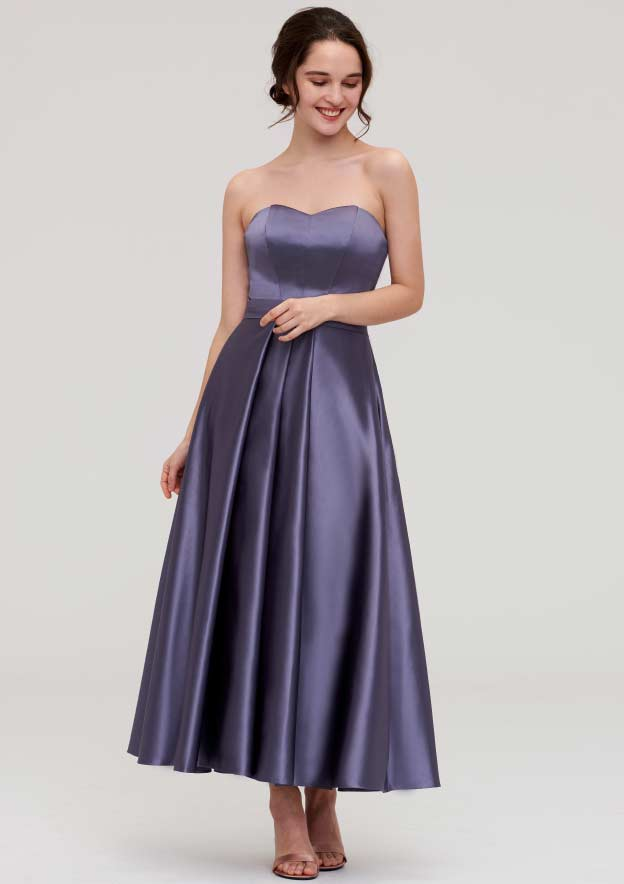 A-Line/Princess Sweetheart Sleeveless Ankle-Length Satin Bridesmaid Dress With Pleated