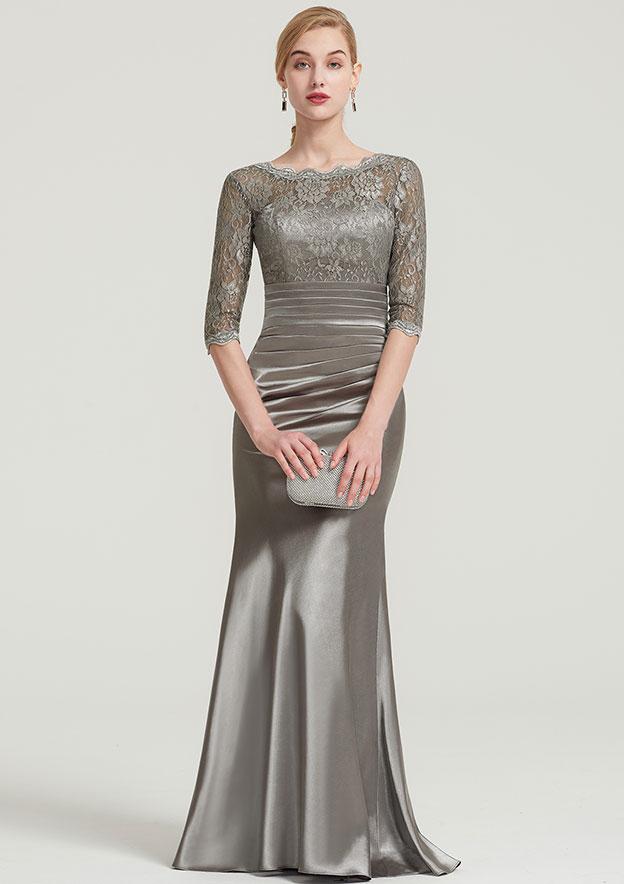 Sheath/Column Bateau Half Sleeve Long/Floor-Length Charmeuse Dress With Lace Pleated