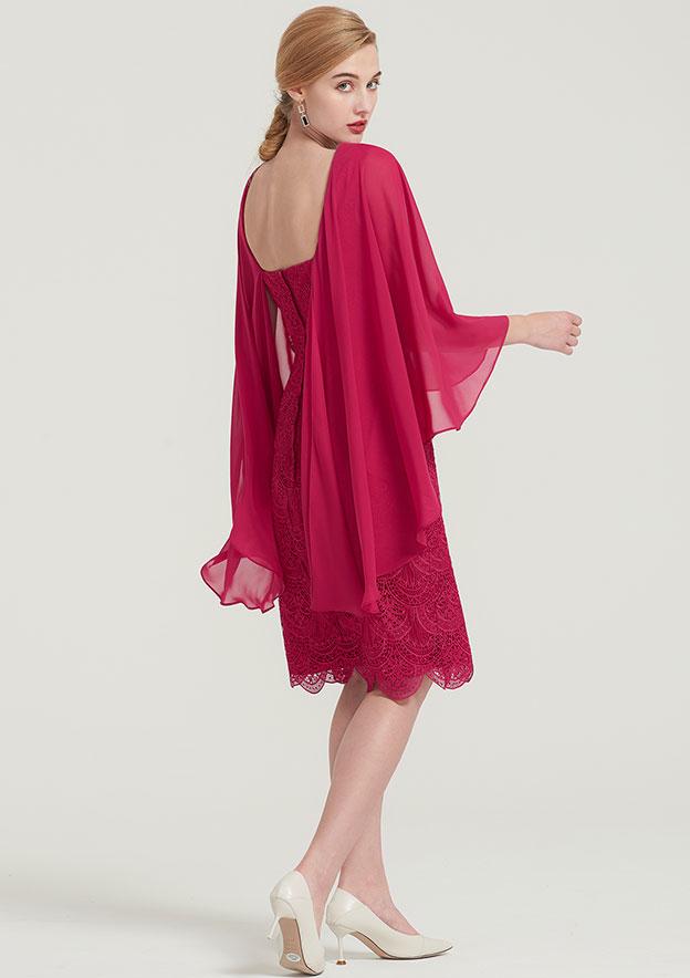 Sheath/Column Bateau 3/4 Sleeve Knee-Length Lace Mother Of The Bride Dress