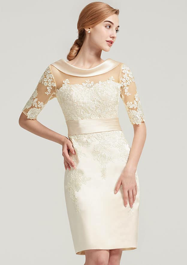 Sheath/Column Cowl Neck Short Sleeve Knee-Length Satin Mother Of The Bride Dress With Pleated Appliqued Lace