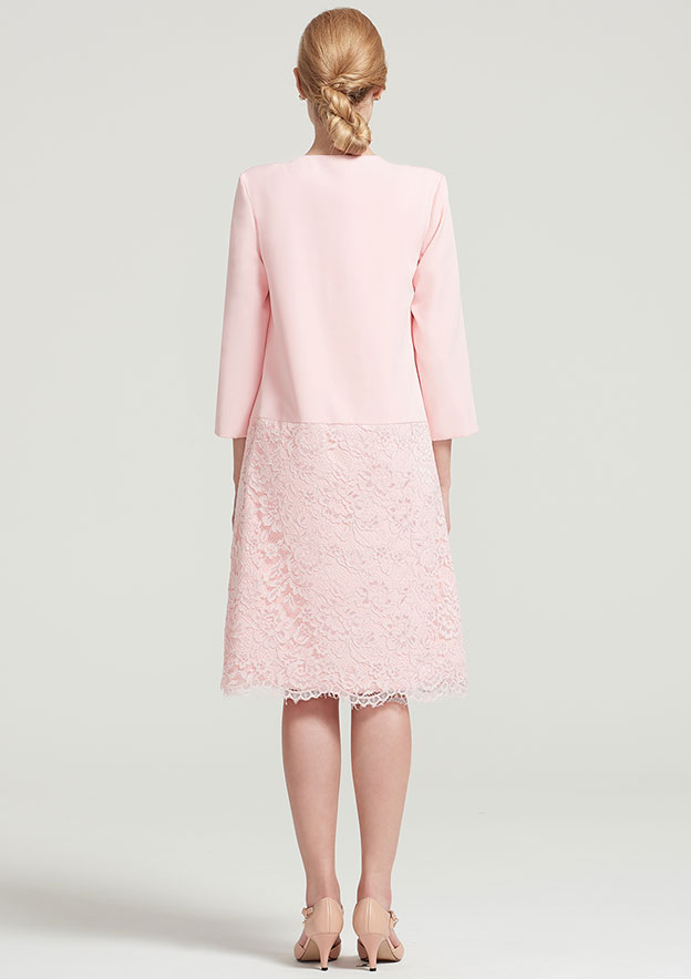 3/4 Sleeve Knee Length Elastic Satin Jacket With Lace