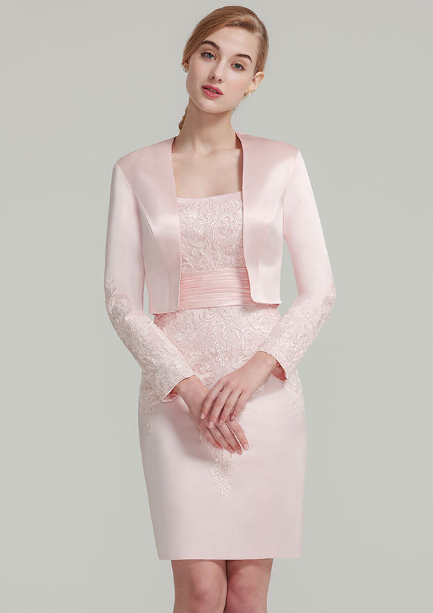 Sheath/Column Square Neckline Sleeveless Knee-Length Satin Mother Of The Bride Dress With Jacket Appliqued Pleated