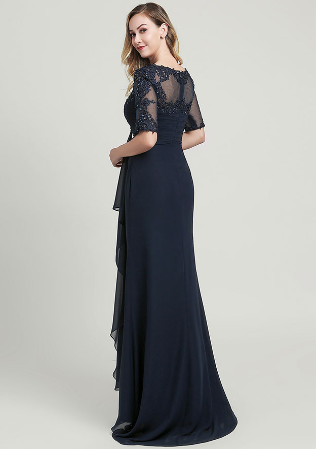 Sheath/Column Scoop Neck Half Sleeve Long/Floor-Length Chiffon Mother of the Bride Dress With Sequins Appliqued Pleated