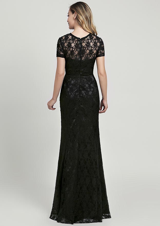 Sheath/Column Scoop Neck Short Sleeve Long/Floor-Length Lace Mother of the Bride Dress
