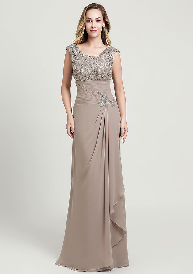 Sheath/Column Scoop Neck Sleeveless Long/Floor-Length Chiffon Mother of the Bride Dress With Ruffles Lace Appliqued