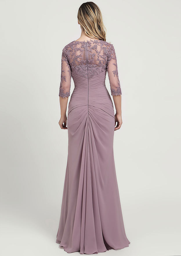 Sheath/Column Sweetheart 3/4 Sleeve Long/Floor-Length Chiffon Mother of the Bride Dress With Ruffles Lace Pleated