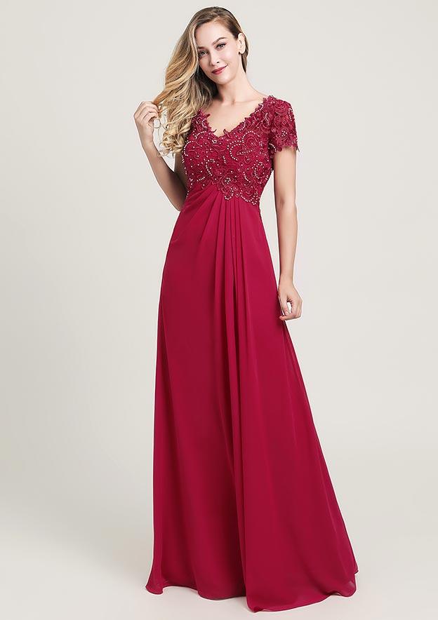 A-line/Princess V Neck Short Sleeve Long/Floor-Length Chiffon Prom Dress With Ruffles Lace Beading